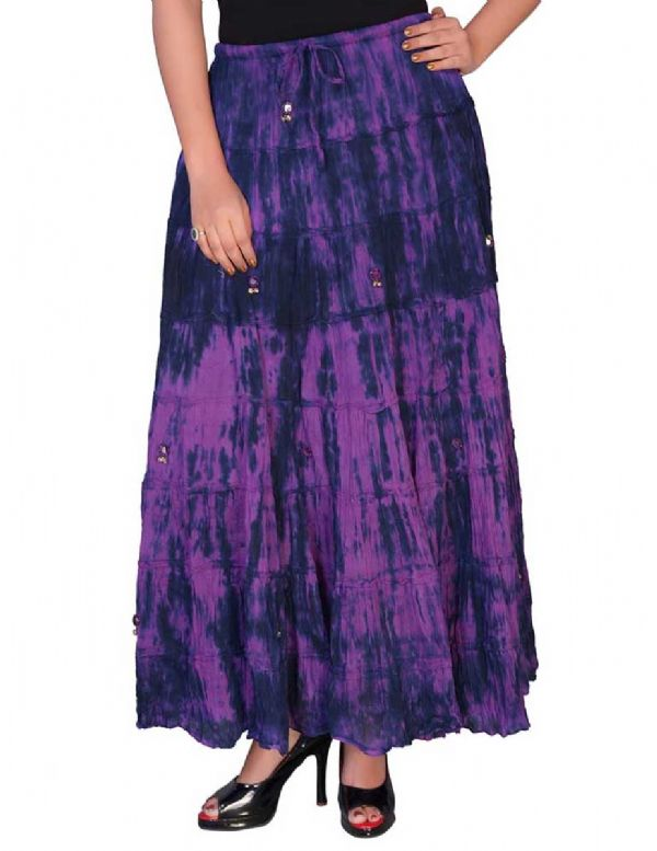 JORDASH Ladies Gothic Gypsy Tie Dye Long Skirt - Purple